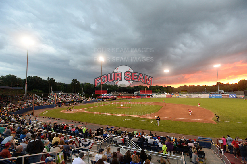 General view of the Batavia Muckdogs game against the State College Spikes on July 3, 2014 at Dwyer Stadium in Batavia, New York.  State College defeated Batavia 7-1.  (Mike Janes/Four Seam Images)