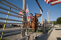 Johnsville, MD: J Bar W Ranch -- Amy Albright at the beginning of the rodeo parade.