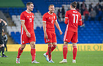 Cardiff - UK - 9th September :<br />Wales v Belarus Friendly match at Cardiff City Stadium.<br />Gareth Bale (right)  of Wales celebrates his sides win with team mates Sam Vokes (left) and Chris Gunter (middle)<br />Editorial use only