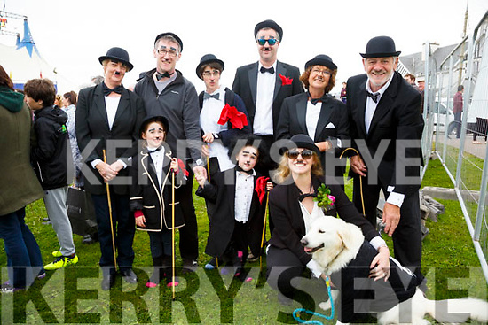 Getting into the Black & White mode at the Charlie Chaplin Festival in Waterville on Saturday were front l-r; Auden Boyle, Ebby Boyle, Jane Anne Rothwell, Holly O'Neill(the dog), back l-r; Mary O'Shea O'Neill, Owen Boyle, Claire O'Shea-O'Neill, Stephen O'Neill, Parfrey Rothwell & John Rothwell.