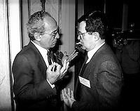 Roma Febbraio 1986.Virginio Rognoni (DC), Romano Prodi, Presidente IRI .