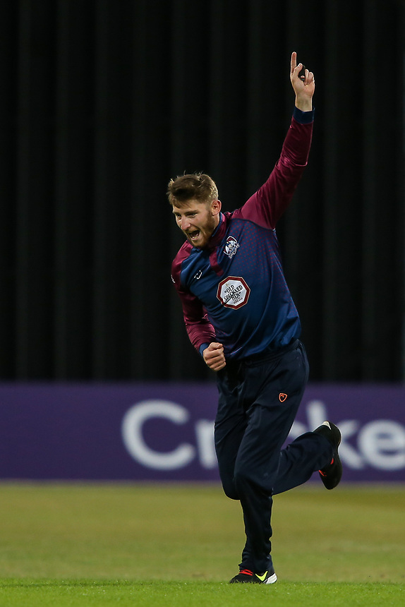 Northamptonshire's Rob Keogh celebrates taking the wicket of Leicestershire's Cameron Delport <br /> <br /> Photographer Andrew Kearns/CameraSport<br /> <br /> NatWest T20 Blast - Leicestershire Foxes vs Northamptonshire Steelbacks - Friday 21st July 2017 - Grace Road Leicester <br /> <br /> World Copyright &copy; 2017 CameraSport. All rights reserved. 43 Linden Ave. Countesthorpe. Leicester. England. LE8 5PG - Tel: +44 (0) 116 277 4147 - admin@camerasport.com - www.camerasport.com