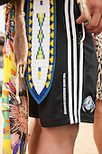 A Canadian indigenous contestant wears a pair of David Beckham Academy shorts at the International Indigenous Games in Brazil. 25th October 2015