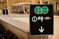 A sign directing transit riders to the GO Transit ticket booth is seen in Toronto Union Station April 20, 2010.GO Transit (reporting mark GOT) is an interregional public transit system in Southern Ontario, Canada.