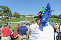 An avid fan on hand at 5 during round 1 foursomes of the 2017 President's Cup, Liberty National Golf Club, Jersey City, New Jersey, USA. 9/28/2017.<br /> Picture: Golffile | Ken Murray<br /> ll photo usage must carry mandatory copyright credit (&copy; Golffile | Ken Murray