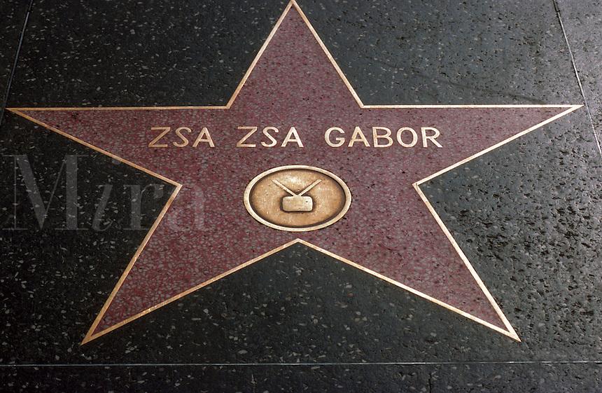 Zsa Zsa gabor's star on Hollywood Boulevard. California.
