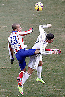 Atletico de Madrid's Joao Miranda (l) and Real Madrid's Cristiano Ronaldo during La Liga match.February 7,2015. (ALTERPHOTOS/Acero) /NORTEphoto.com