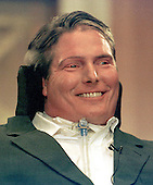 "Actor/director Christopher Reeve, star of the ""Superman"" movies who was paralyzed in a riding accident in 1995, passed away in New York on October 10, 2004 of cardiac arrest.  This photo was during the United States Senate Subcommittee hearing on medical funding in Washington, D.C. on June 5, 1997.  Reeve was an outspoken advocate for stem-cell research..Credit: Ron Sachs / CNP"