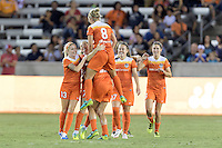 Houston, TX - Saturday Sept. 03, 2016: Denise O'Sullivan, Ellie Brush, Kealia Ohai celebrates scoring during a regular season National Women's Soccer League (NWSL) match between the Houston Dash and the Orlando Pride at BBVA Compass Stadium.