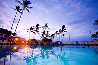 A sunrise view of King Kamehameha's Kona Beach Hotel, Kona, Big Island