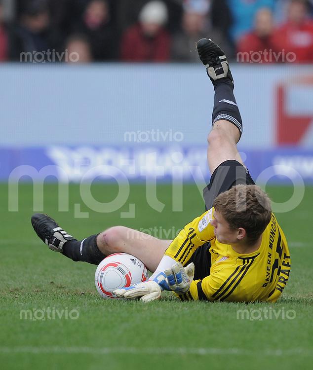 FUSSBALL   1. BUNDESLIGA   SAISON 2010/2011  27. SPIELTAG    19.03.2011 SC Freiburg - FC Bayern Muenchen Torwart Thomas Kraft (FC Bayern Muenchen) haelt einen Elfmeter von Papiss Demba Cisse (SC Freiburg)