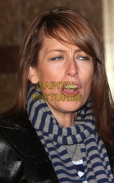 "FAY RIPLEY .""Madagascar; Escape 2 Africa"" - UK Premiere - Outside Arrivals at Empire Leicester Square, London, England, November 23rd 2008..portrait headshot faye striped scarf funny mouth face frowning blue and grey gray .CAP/ROS.©Steve Ross/Capital Pictures"