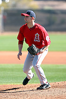 Tyler Chatwood #52 of the Los Angeles Angels participates in pitchers fielding practice during spring training workouts at the Angels complex on February 16, 2011  in Tempe, Arizona. .Photo by:  Bill Mitchell/Four Seam Images.