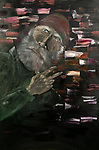 """Artwork by School for New Learning student and retired Master Gunnery Sgt. of the Marine Corps Mike Slaughter. (DePaul University/Jeff Carrion)<br /> <br /> Title: """"Unfinished Life""""<br /> The depiction is of a weathered Veteran that is missing something in his life<br /> Size:  24""""X16"""" Canvas<br /> Medium: Oil on Canvas <br /> Year painted  2018"""