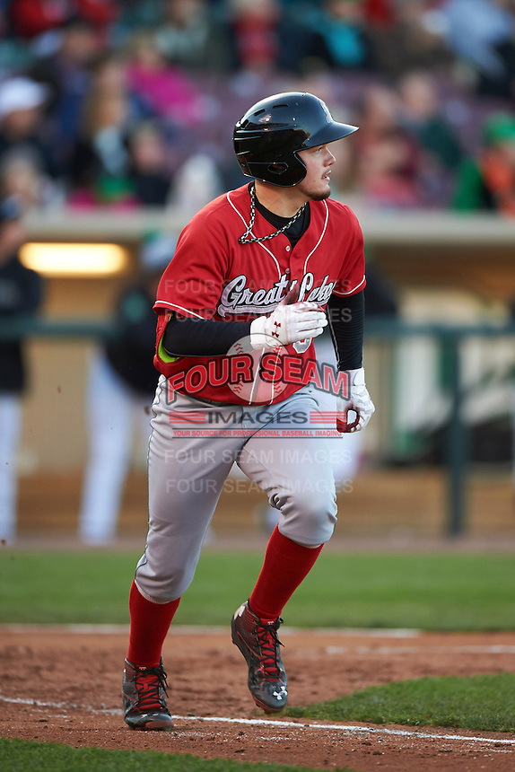 Great Lakes Loons outfielder Alex Verdugo (9) runs to first during a game against the Dayton Dragons on May 21, 2015 at Fifth Third Field in Dayton, Ohio.  Great Lakes defeated Dayton 4-3.  (Mike Janes/Four Seam Images)