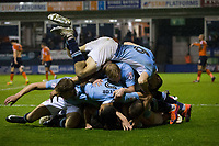 Blackpool players celebrate their sides third goal to win the tie<br /> <br /> Photographer Craig Mercer/CameraSport<br /> <br /> The EFL Sky Bet League Two Play-Off Semi Final Second Leg - Luton Town v Blackpool - Thursday 18th May 2017 - Kenilworth Road - Luton<br /> <br /> World Copyright &copy; 2017 CameraSport. All rights reserved. 43 Linden Ave. Countesthorpe. Leicester. England. LE8 5PG - Tel: +44 (0) 116 277 4147 - admin@camerasport.com - www.camerasport.com