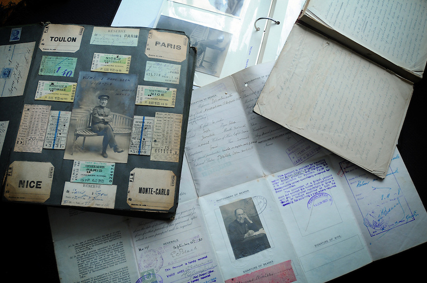 Collects and passport documents of Thomas Winter. Photo by Clare Kendall. 07971 477316