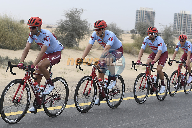 The peloton including Team Katusha Alpecin during Stage 4 of the 2019 UAE Tour, running 197km form The Pointe Palm Jumeirah to Hatta Dam, Dubai, United Arab Emirates. 26th February 2019.<br /> Picture: LaPresse/Fabio Ferrari | Cyclefile<br /> <br /> <br /> All photos usage must carry mandatory copyright credit (© Cyclefile | LaPresse/Fabio Ferrari)