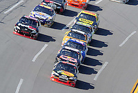 Apr 26, 2009; Talladega, AL, USA; NASCAR Sprint Cup Series driver Martin Truex Jr leads the field during the Aarons 499 at Talladega Superspeedway. Mandatory Credit: Mark J. Rebilas-
