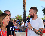 Sir Bradley Wiggins (GBR) jokes with Brian Smith and Orla Chennaoui part of the Eurosport commentary team during Stage 2 of La Vuelta 2019 running 199.6km from Benidorm to Calpe, Spain. 25th August 2019.<br /> Picture: Eoin Clarke | Cyclefile<br /> <br /> All photos usage must carry mandatory copyright credit (© Cyclefile | Eoin Clarke)