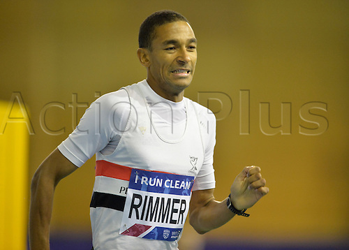 27.02.2016. EIS Sheffield, Sheffield, England. British Indoor Athletics Championships Day One. Michael Rimmer leading his heat of the 800m.