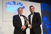 Picture by Allan McKenzie/SWpix.com - 05/10/17 - Cricket - Yorkshire County Cricket Club Gala Dinner 2017 - Elland Road, Leeds, England - Jack Leaning takes the Fielder of the Year Award.