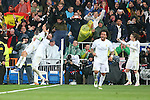Real Madrid's Cristiano Ronaldo, Sergio Ramos, Marcelo Vieira and Luka Modric celebrate goal during Champions League 2015/2016 Quarter-finals 2nd leg match. April 12,2016. (ALTERPHOTOS/Acero)