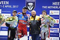 MOTORSPORT: HEERENVEEN: 31-03-2017, IJsstadion Thialf, IJsspeedway Roelof Thijs Bokaal, Roelof Thijs met winnaar Eduard Krysov (RUS), 2) Charly Ebner (AUT), 1) Eduard Krysov (RUS), Roelof Thijs, 3) Martin Haarahiltunen (SWE), ©foto Martin de Jong