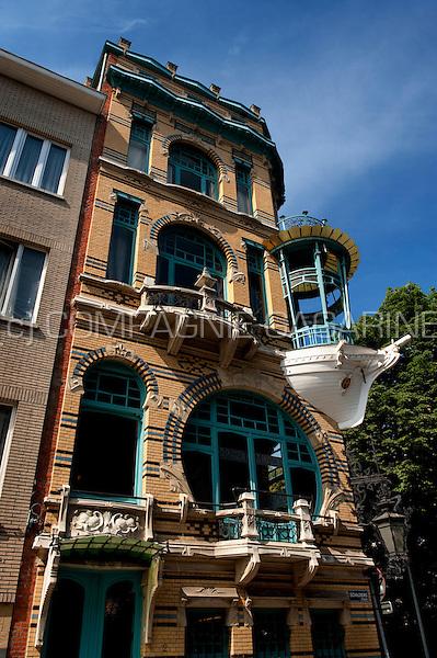 """The Art Nouveau house """"De Vijf Werelddelen"""" in Antwerp (Belgium, 28/06/2010)"""