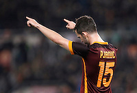 Calcio, Serie A: Roma vs Frosinone. Roma, stadio Olimpico, 30 gennaio 2016.<br /> Roma&rsquo;s Miralem Pjanic celebrates after scoring during the Italian Serie A football match between Roma and Frosinone at Rome's Olympic stadium, 30 January 2016.<br /> UPDATE IMAGES PRESS/Isabella Bonotto