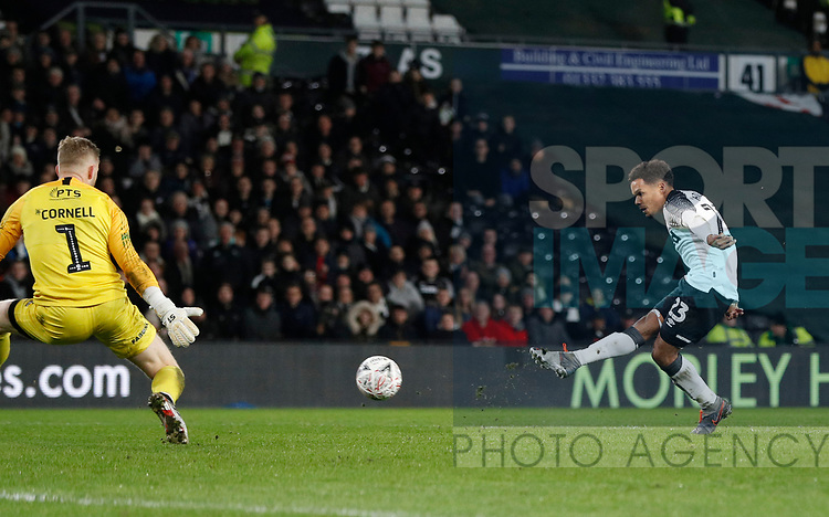 Duane Holmes of Derby County scores the second goal during the FA Cup match at the Pride Park Stadium, Derby. Picture date: 4th February 2020. Picture credit should read: Darren Staples/Sportimage