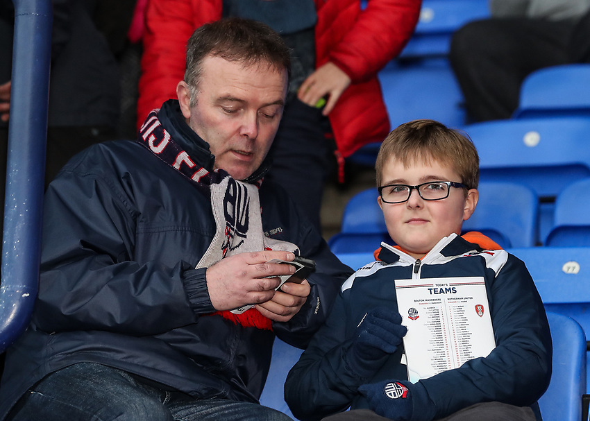 Bolton Wanderers' supporters<br /> <br /> Photographer Andrew Kearns/CameraSport<br /> <br /> The EFL Sky Bet Championship - Bolton Wanderers v Rotherham United - Wednesday 26th December 2018 - University of Bolton Stadium - Bolton<br /> <br /> World Copyright © 2018 CameraSport. All rights reserved. 43 Linden Ave. Countesthorpe. Leicester. England. LE8 5PG - Tel: +44 (0) 116 277 4147 - admin@camerasport.com - www.camerasport.com