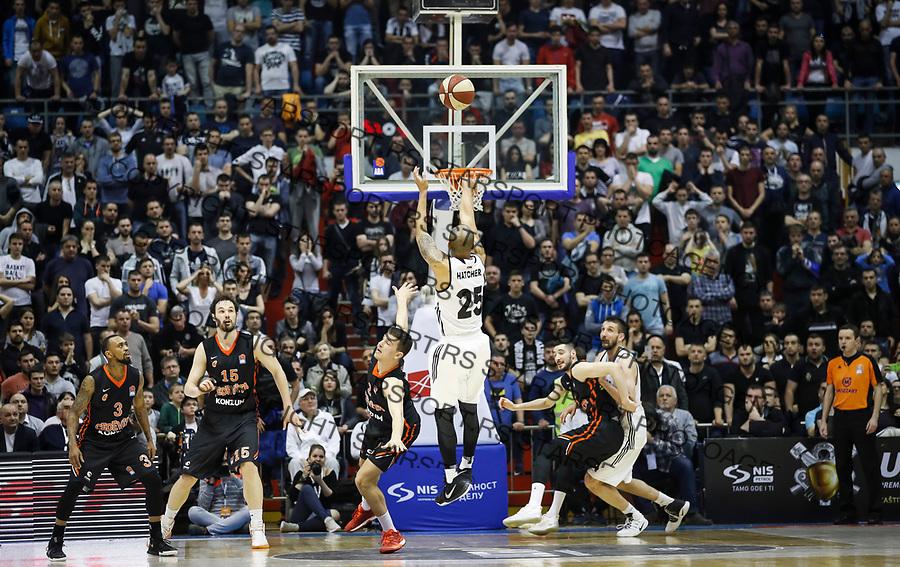 Kosarka ABA League season 2016-2017<br /> Play-Off second match<br /> Partizan v Cedevita<br /> William Hatcher (C) scores winning point near Filip Kruslin (L)<br /> Beograd, 25.03.2017<br /> foto: Srdjan Stevanovic/Starsportphoto &copy;