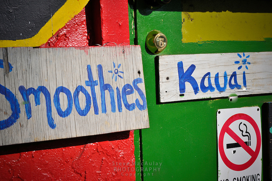 Colorful juice and smoothie signs on juice bar in Hanalei, Kauai, Hawaii