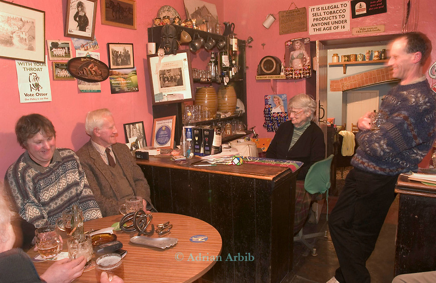 The Luppittt Inn and locals . Blackdown Hills. Devon.  Run by Mary Wright behind counter.
