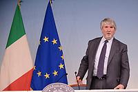 Roma, 12 Maggio 2017<br /> Il ministro del Lavoro Giuliano Poletti parla in una conferenza stampa al termine del Consiglio dei Ministri