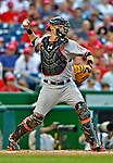 19 May 2012: Baltimore Orioles catcher Matt Wieters in action against the Washington Nationals at Nationals Park in Washington, DC. The Orioles defeated the Nationals 6-5 in the second game of their 3-game series. Mandatory Credit: Ed Wolfstein Photo