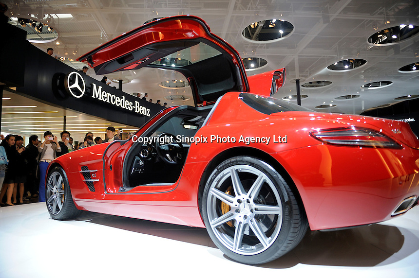 Mercedes-Benz SLS AMG car at the Beijing Auto Show. The car show has attracted all the world's major auto markers. China's vehicle sales have breached the 10-million barrier for the first time ever, with 10.9 million automobiles sold last year. .24 Apr 2010