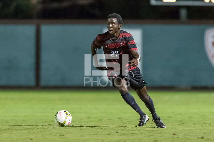 STANFORD, CA - August 19, 2014: Marshall Glover during the Stanford vs CSU Bakersfield men's exhibition soccer match in Stanford, California.  Stanford won 1-0.