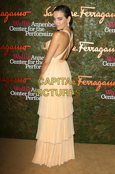 Camilla Belle<br /> Wallis Annenberg Center For The Performing Arts Inaugural Gala held at Wallis Annenberg Center For The Performing Arts,  Beverly Hills, California, USA, 17th October 2013.<br /> full length beige cream long maxi dress tiered nude low cut layered back rear behind over shoulder <br /> CAP/ADM/KB<br /> &copy;Kevan Brooks/AdMedia/Capital Pictures