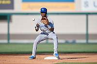 Dunedin Blue Jays second baseman Samad Taylor (1) waits for a throw during a Florida State League game against the Lakeland Flying Tigers on May 18, 2019 at Publix Field at Joker Marchant Stadium in Lakeland, Florida.  Dunedin defeated Lakeland 3-2 in eleven innings.  (Mike Janes/Four Seam Images)