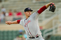 Greenville Drive starting pitcher Justin Haley (38) in action against the Kannapolis Intimidators at CMC-Northeast Stadium on June 29, 2013 in Kannapolis, North Carolina.  The Drive defeated the Intimidators 5-3.   (Brian Westerholt/Four Seam Images)