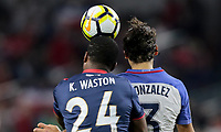 Arlington, TX - Saturday July 22, 2017:  Kendall Waston and Omar Gonzalezduring a 2017 Gold Cup Semifinal match between the men's national teams of the United States (USA) and Costa Rica (CRC) at AT&T stadium.
