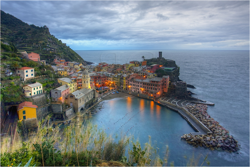 A little ways above the town of Vernazza, you can find amazing views of not only this fishing village along the Ligurian Coast of Italy, but great overlooks across all of the Cinque Terre. This image of the Cinque Terre was captured well before sunrise as the clouds were breaking up.