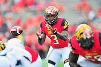 Freshman QB Tyrrell Pigrome of the Terrapins gets some playing time in the second half.  Maryland routed Howard 52-13 during home season opener at Capital One Field in College Park, MD on Saturday, September 3, 2016.  Alan P. Santos/DC Sports Box