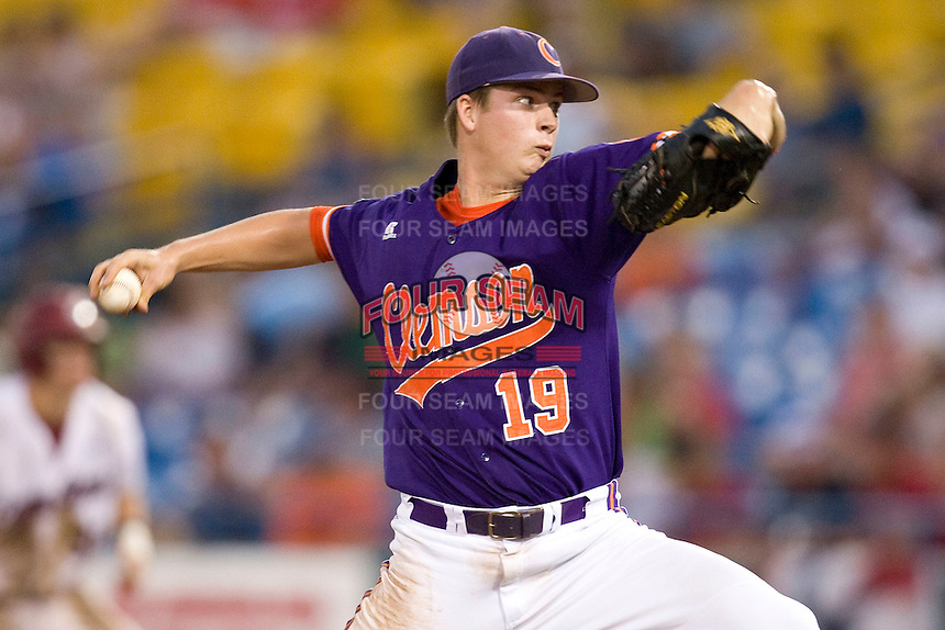 Clemson pitcher Kevin Brady in Game 14 of the NCAA Division One Men's College World Series on June 26th, 2010 at Johnny Rosenblatt Stadium in Omaha, Nebraska.  (Photo by Andrew Woolley / Four Seam Images)