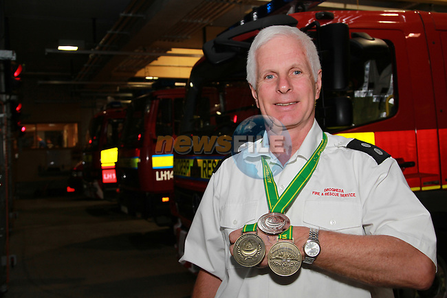 Drogheda fire service station office Peter Leahy pictured with his silver and two bronze medals that he won in the international Fire Fighter games in Sydney Australia..Picture: Fran Caffrey/www.golffile.ie.