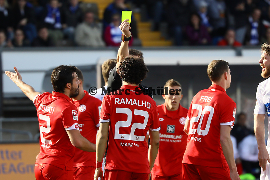 Gelb für Andre Ramalho (1. FSV Mainz 05)- 11.03.2017: SV Darmstadt 98 vs. 1. FSV Mainz 05, Johnny Heimes Stadion am Boellenfalltor