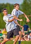 29 May 2015: Lyndon Institute plays in the second round of the VYUL State Ultimate Disk Championships at Bombardier Park in Milton, Vermont. Mandatory Credit: Ed Wolfstein Photo *** RAW (NEF) Image File Available ***