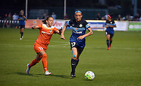 Kansas City, MO - Saturday May 07, 2016: FC Kansas City defender Amanda Frisbie (17) against Houston Dash midfielder Andressa Machry (17) during a regular season National Women's Soccer League (NWSL) match at Swope Soccer Village. Houston won 2-1.